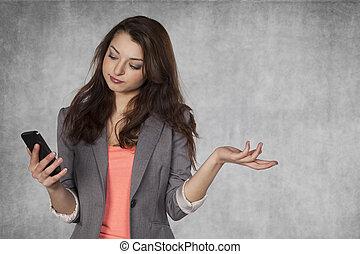 mobile, femme, surpris, business, tenue