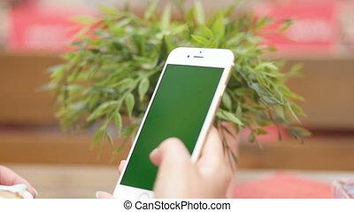 mobile, femme, texting, jeune