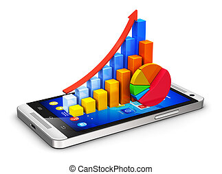 Mobile finance and analytics concept - Creative abstract...