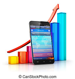 Mobile finance and business analytics concept