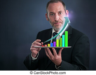Businessman with Tablet Pc shows an analysis tool graph