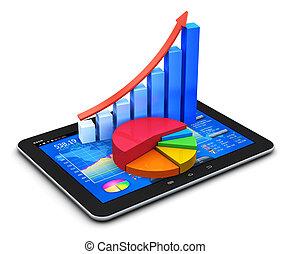 mobile, finance, et, statistiques, concept