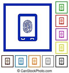 Mobile fingerprint identification flat framed icons - Mobile...