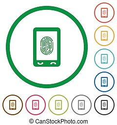 Mobile fingerprint identification flat icons with outlines -...
