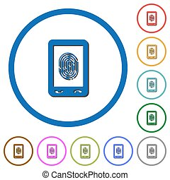 Mobile fingerprint identification icons with shadows and...
