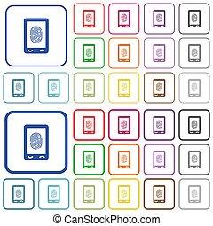 Mobile fingerprint identification outlined flat color icons...