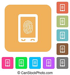 Mobile fingerprint identification rounded square flat icons...