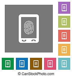 Mobile fingerprint identification square flat icons - Mobile...