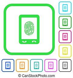 Mobile fingerprint identification vivid colored flat icons...