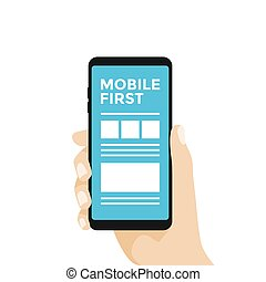 Mobile first Concept Design, Smartphone in hand.