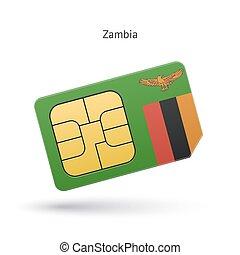 mobile, flag., zambia, telefono, sim, scheda