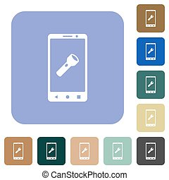Mobile flashlight rounded square flat icons