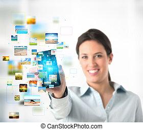 mobile, flusso continuo, telefono