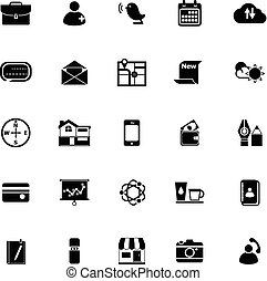 mobile, fond blanc, icônes