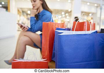 mobile, fond, téléphone, achats, femme, sacs