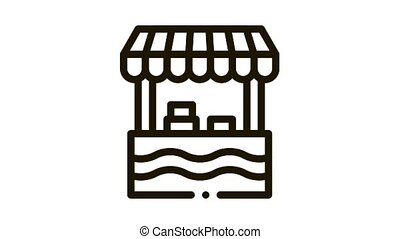 mobile food stall Icon Animation. black mobile food stall animated icon on white background