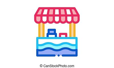 mobile food stall Icon Animation. color mobile food stall animated icon on white background