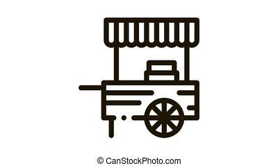 mobile food stalls Icon Animation. black mobile food stalls animated icon on white background