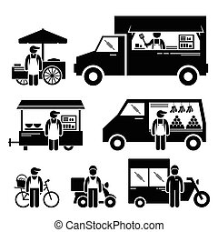A set of human pictogram representing moving mobile vehicles which include a cart, truck, wagon, van, bicycle and bike.