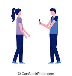 mobile, foto, presa, donna, uomo