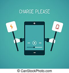 Mobile gadget need charge vector concept in flat style