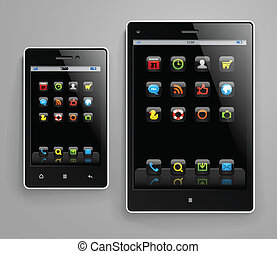 Mobile gadgets with color icons