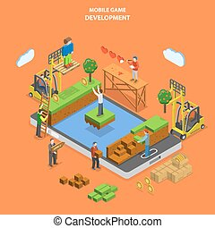 Mobile game development flat isometric vector.