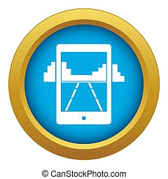 Mobile gaming icon blue isolated