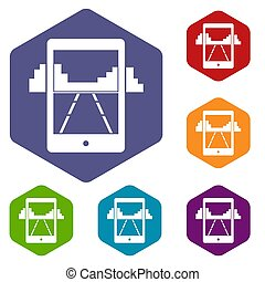 Mobile gaming icons set hexagon