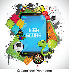 Mobile Gaming - illustration of different games with modern...