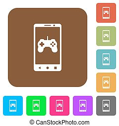 Mobile gaming rounded square flat icons