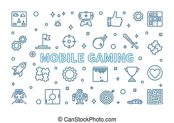 Mobile Gaming vector concept banner in outline style
