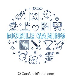 Mobile Gaming vector round illustration in outline style