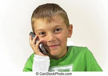 mobile, garçon, cellule, jeune, téléphone