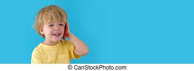 mobile, garçon, conversation, téléphone