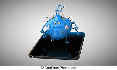 mobile, -, germe, téléphone, animation, amusement, 3d
