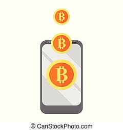 Mobile Get Bitcoin Vector Illustration Graphic