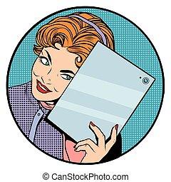 mobile, girl, tablette