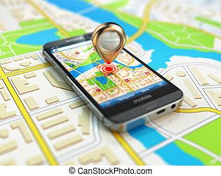 mobile, gps, navigation, concept., smartphone, sur, carte, de, ville
