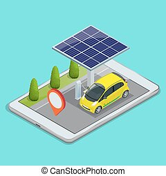 Mobile GPS navigation, electric car charging concept. View a map on the mobile phone on car and search GPS coordinates. Flat 3d vector isometric illustration.