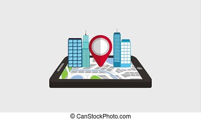 mobile gps navigation pointer map and building city 3d