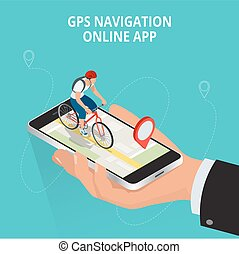 Mobile GPS navigation, travel and tourism concept. View a map on the mobile phone on bike and search GPS coordinates. Flat 3d vector isometric illustration.