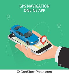 Mobile GPS navigation, travel and tourism concept. View a map on the mobile phone on car and search GPS coordinates. Flat 3d vector isometric illustration.