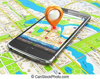 mobile, gps, navigation, voyage, concept., smartphonewith, épingle, sur, ville, map.