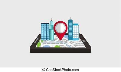 mobile, gps, navigazione, puntatore, mappa, e, costruzione, città, 3d