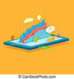 mobile, graphique, écran, business