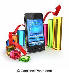 mobile, graphique, application, bourse