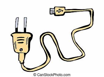 mobile, griffonnage, chargeur, usb, téléphone