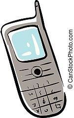 mobile, gris, illustration, téléphone, vecteur, fond, blanc