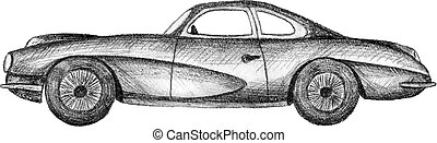 Mobile - Hand drawn invented retro car. Black pencil drawing...